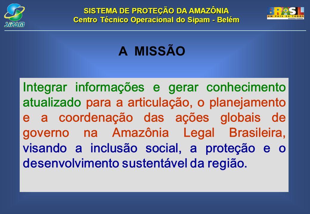 SISTEMA DE PROTEÇÃO DA AMAZÔNIA Centro Técnico Operacional do Sipam - Belém Integrar informações e gerar conhecimento atualizado para a articulação, o