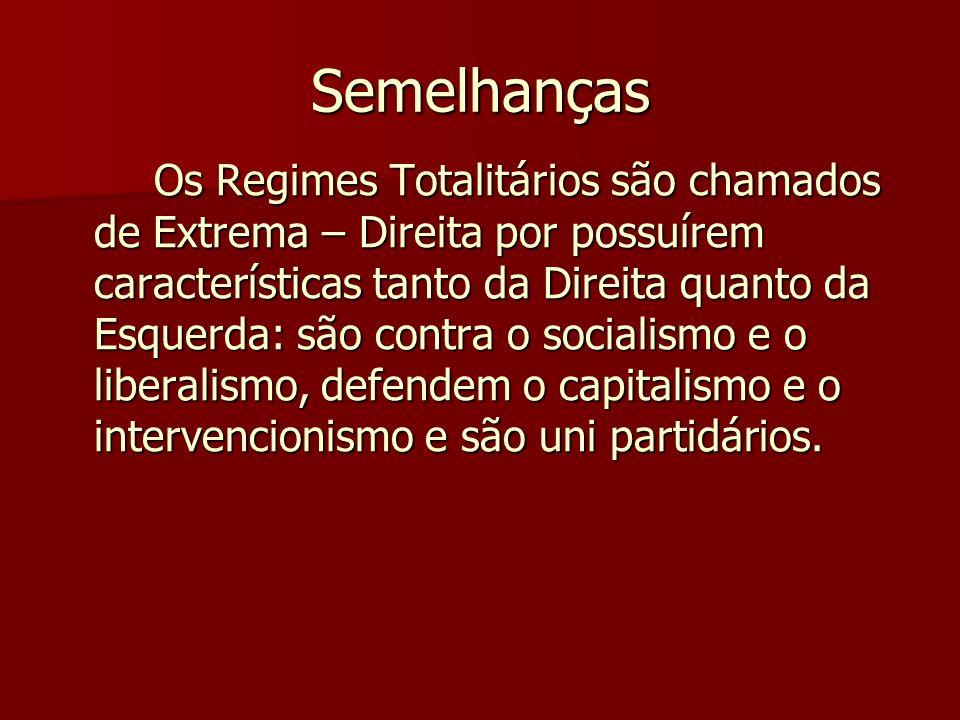Semelhanças Os Regimes Totalitários são chamados de Extrema – Direita por possuírem características tanto da Direita quanto da Esquerda: são contra o