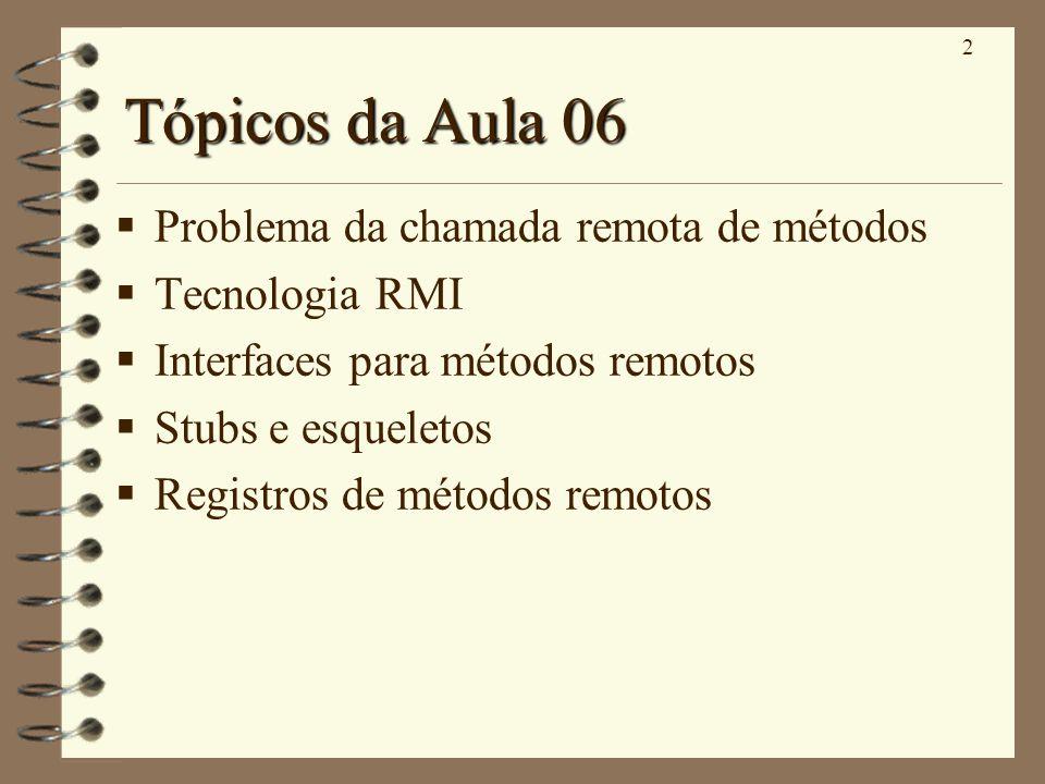 2 Tópicos da Aula 06 Problema da chamada remota de métodos Tecnologia RMI Interfaces para métodos remotos Stubs e esqueletos Registros de métodos remo