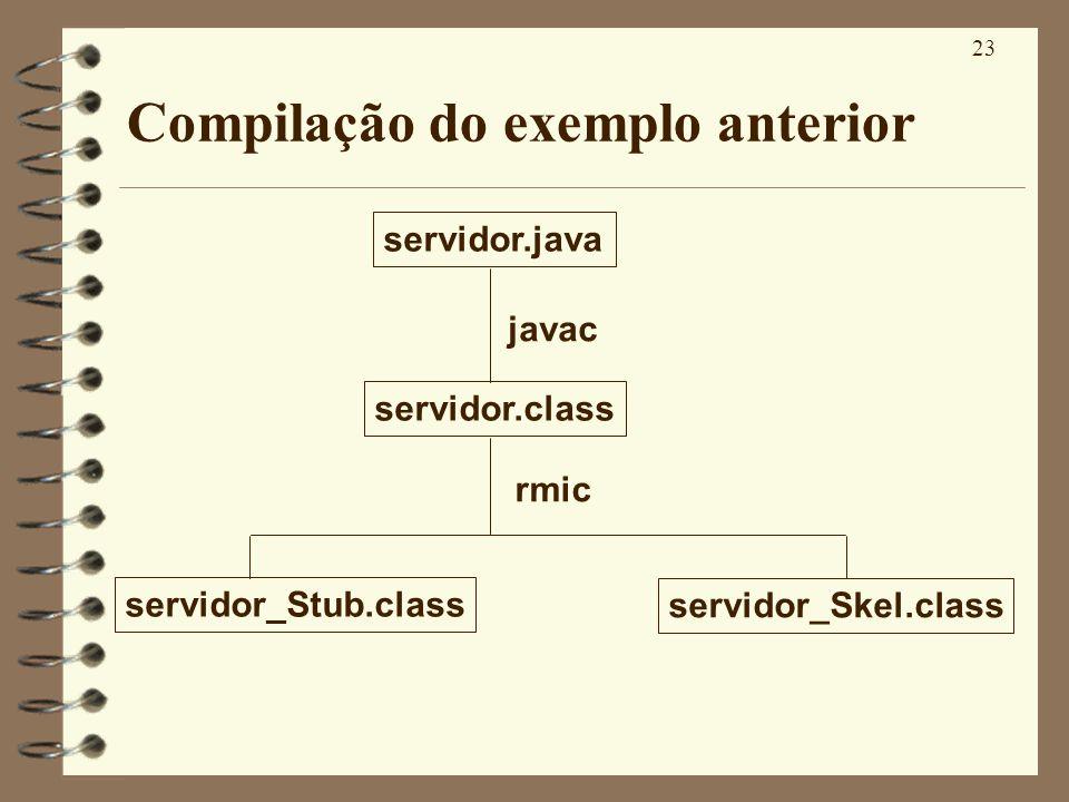23 Compilação do exemplo anterior servidor.java servidor.class servidor_Stub.class servidor_Skel.class javac rmic