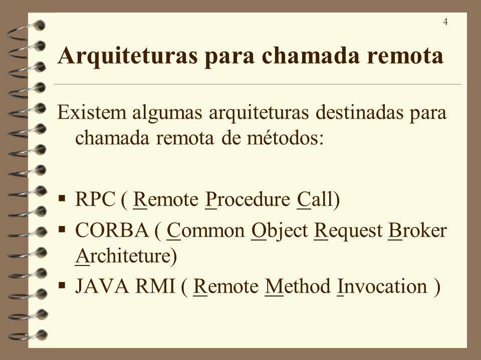 15 Interfaces para métodos remotos(IV) Um cliente faz chamadas de métodos ao objeto proxy, RMI envia a requisição à JVM remota, que executa o método.