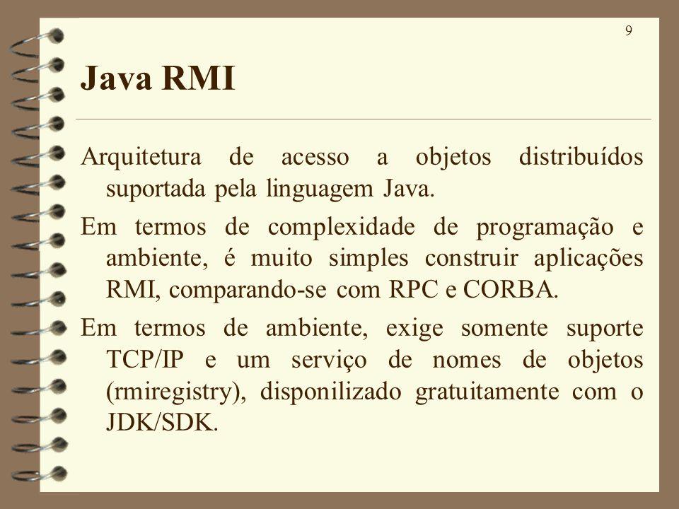 20 Exemplo ( Continuação ) public static void main(String args[]){ try{ servidor serv=new servidor(); Naming.rebind(ServidorHello,serv); // Registra nome do servidor System.out.println(Servidor remoto pronto.); } catch(RemoteException e){ System.out.println(Exceção remota:+e); } catch(MalformedURLException e){}; } A partir deste ponto, o objeto chamado ServidorHello está apto a aceitar chamadas remotas.