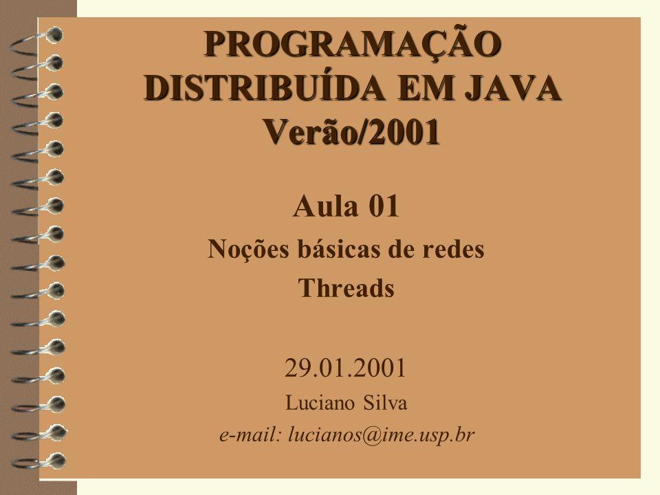 1 PROGRAMAÇÃO DISTRIBUÍDA EM JAVA Verão/2001 Aula 01 Noções básicas de redes Threads 29.01.2001 Luciano Silva e-mail: lucianos@ime.usp.br