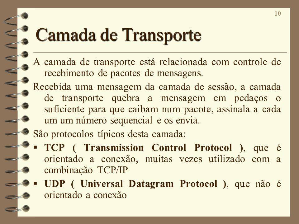 10 Camada de Transporte A camada de transporte está relacionada com controle de recebimento de pacotes de mensagens. Recebida uma mensagem da camada d