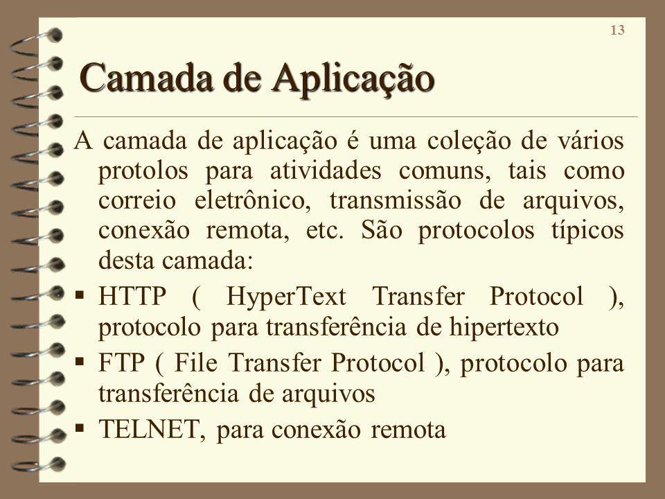 13 Camada de Aplicação A camada de aplicação é uma coleção de vários protolos para atividades comuns, tais como correio eletrônico, transmissão de arq