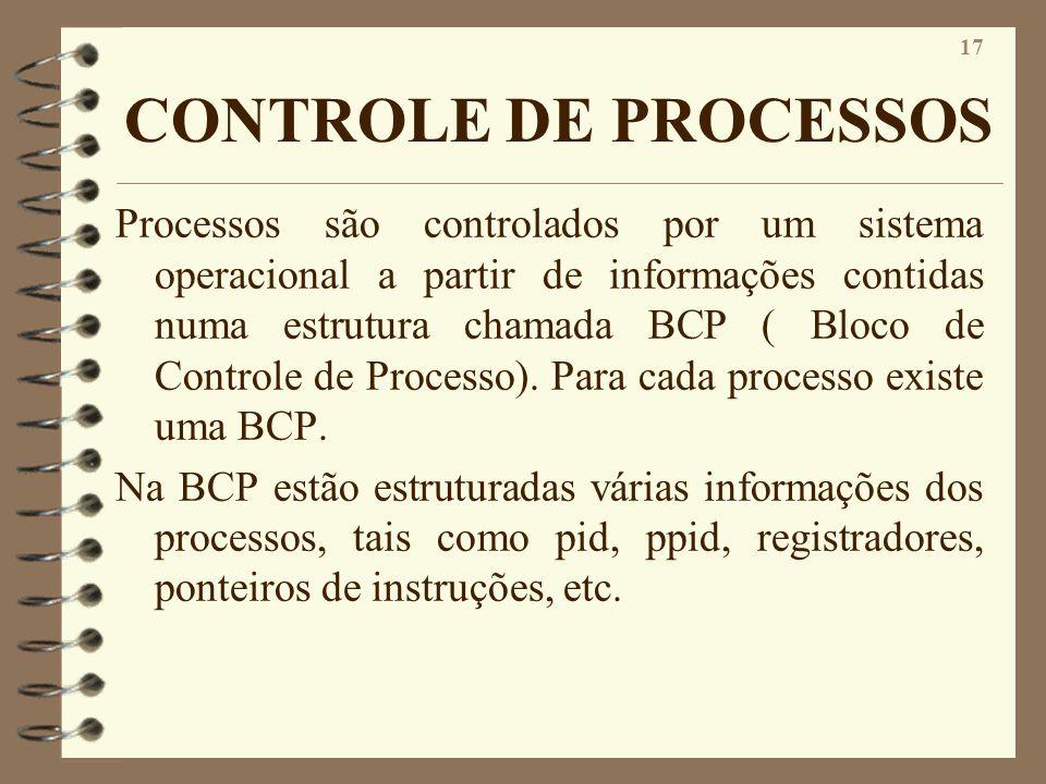 17 CONTROLE DE PROCESSOS Processos são controlados por um sistema operacional a partir de informações contidas numa estrutura chamada BCP ( Bloco de C