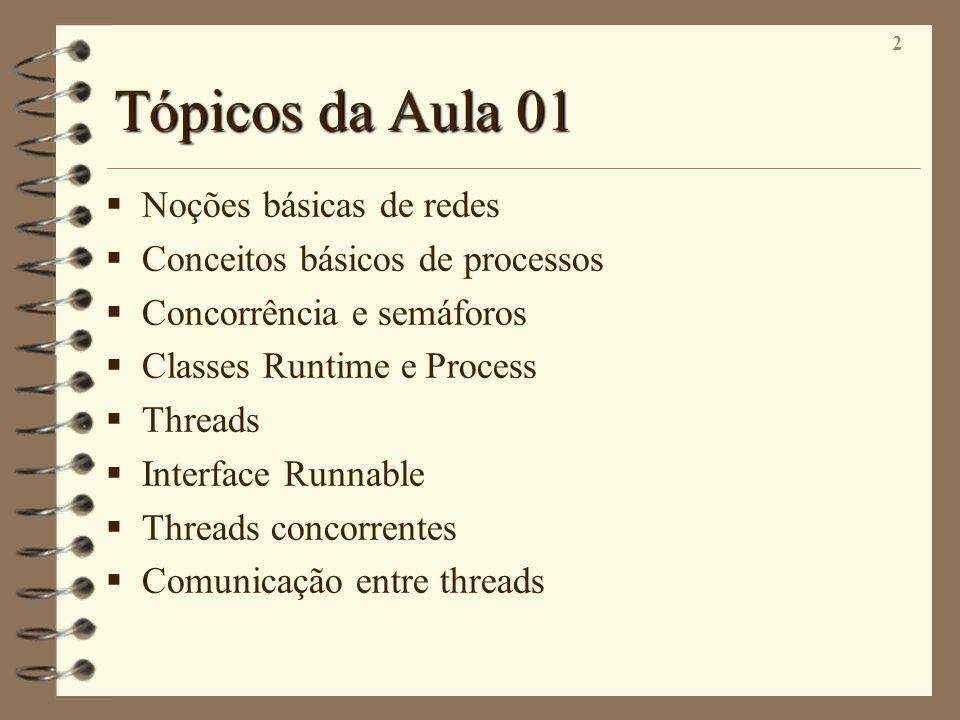 2 Tópicos da Aula 01 Noções básicas de redes Conceitos básicos de processos Concorrência e semáforos Classes Runtime e Process Threads Interface Runna