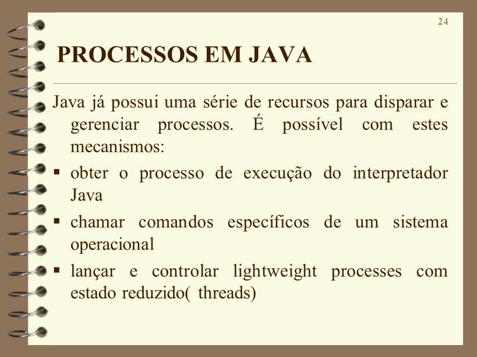 24 PROCESSOS EM JAVA Java já possui uma série de recursos para disparar e gerenciar processos. É possível com estes mecanismos: obter o processo de ex