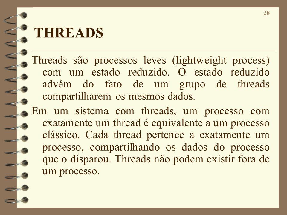 28 THREADS Threads são processos leves (lightweight process) com um estado reduzido. O estado reduzido advém do fato de um grupo de threads compartilh