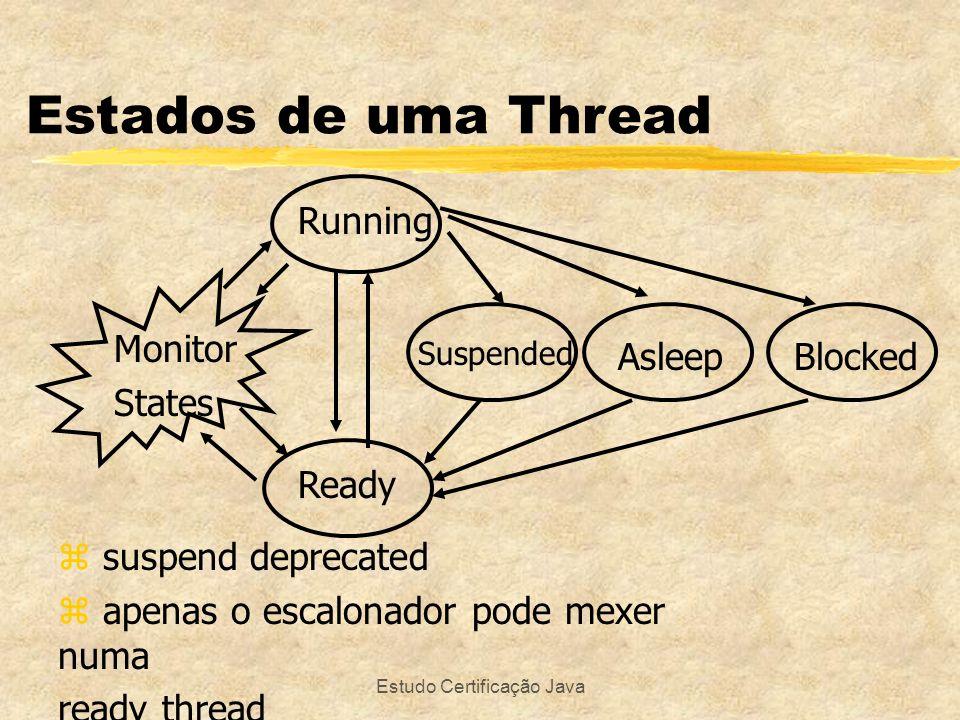 Estudo Certificação Java Estados de uma Thread Monitor States Running Ready Suspended AsleepBlocked z suspend deprecated z apenas o escalonador pode m