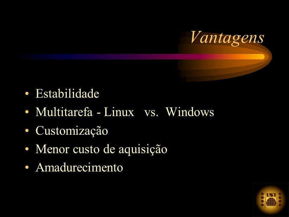 Estabilidade Multitarefa - Linux vs. Windows Customização Menor custo de aquisição Amadurecimento