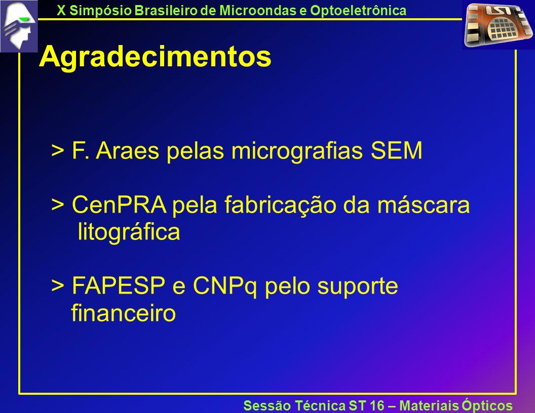 X Simpósio Brasileiro de Microondas e Optoeletrônica Sessão Técnica ST 16 – Materiais Ópticos Agradecimentos > F.