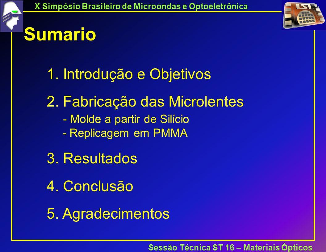 X Simpósio Brasileiro de Microondas e Optoeletrônica Sessão Técnica ST 16 – Materiais Ópticos Sumario 1.