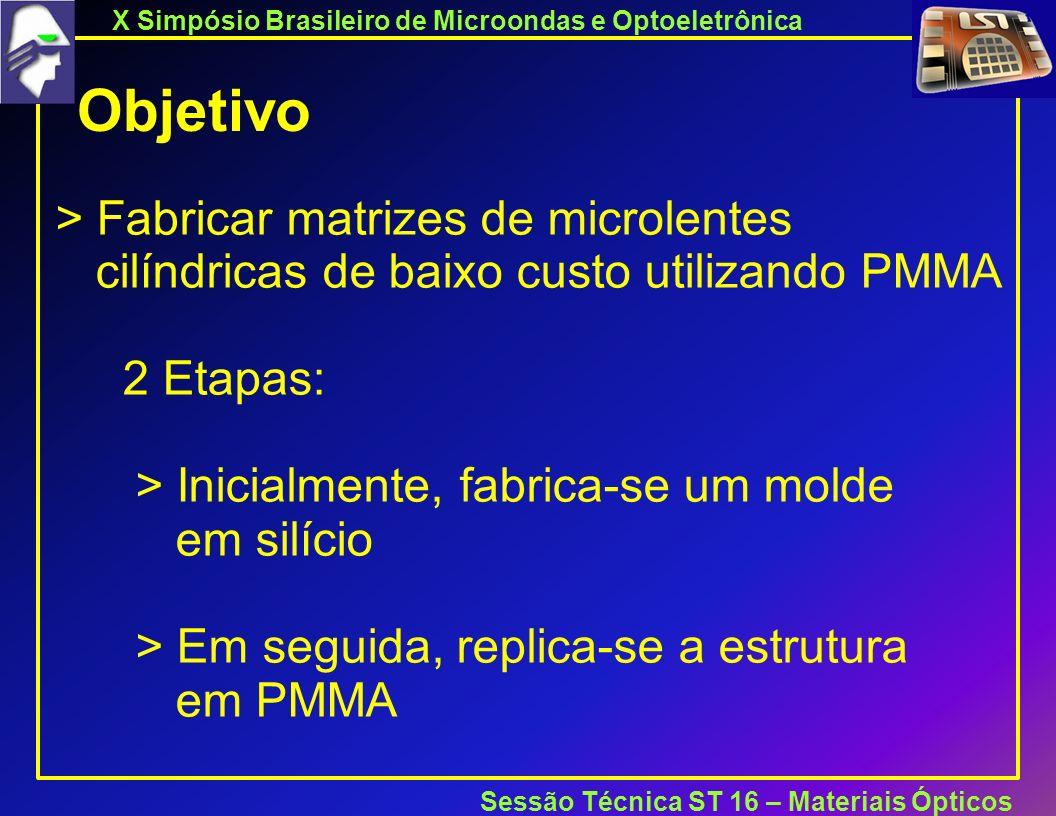 X Simpósio Brasileiro de Microondas e Optoeletrônica Sessão Técnica ST 16 – Materiais Ópticos Objetivo > Fabricar matrizes de microlentes cilíndricas de baixo custo utilizando PMMA 2 Etapas: > Inicialmente, fabrica-se um molde em silício > Em seguida, replica-se a estrutura em PMMA