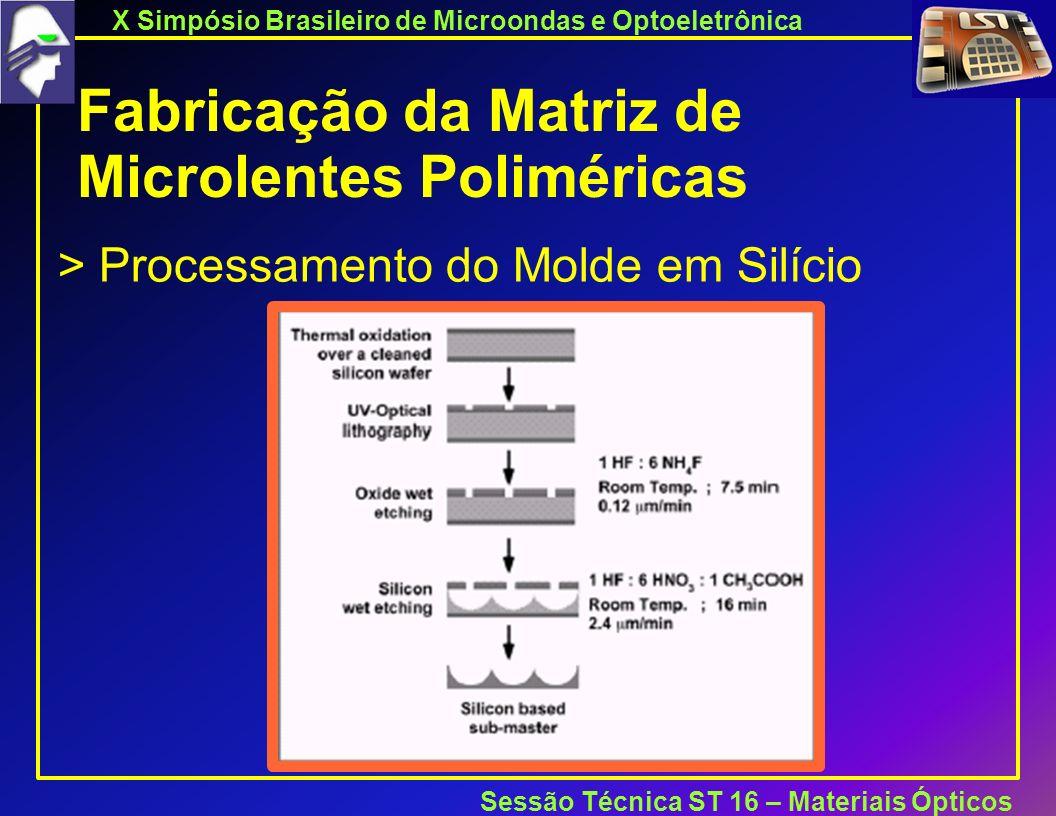 X Simpósio Brasileiro de Microondas e Optoeletrônica Sessão Técnica ST 16 – Materiais Ópticos Fabricação da Matriz de Microlentes Poliméricas > Processamento do Molde em Silício