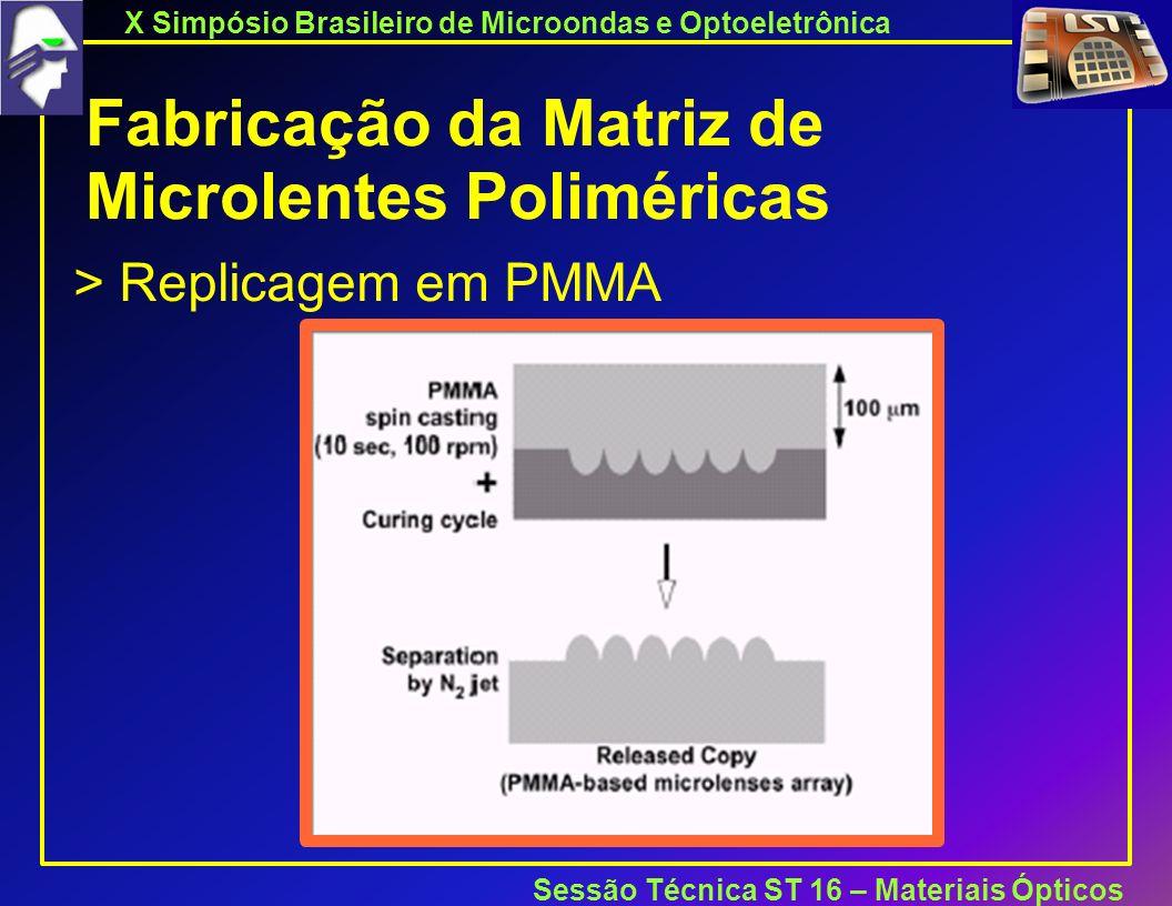 X Simpósio Brasileiro de Microondas e Optoeletrônica Sessão Técnica ST 16 – Materiais Ópticos Fabricação da Matriz de Microlentes Poliméricas > Replicagem em PMMA