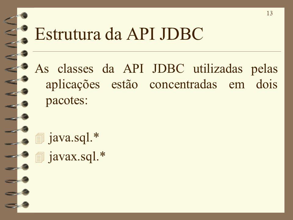 13 Estrutura da API JDBC As classes da API JDBC utilizadas pelas aplicações estão concentradas em dois pacotes: 4 java.sql.* 4 javax.sql.*