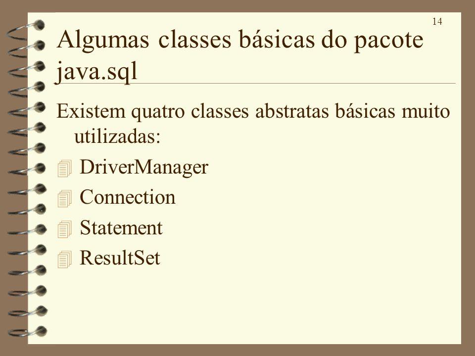 14 Algumas classes básicas do pacote java.sql Existem quatro classes abstratas básicas muito utilizadas: 4 DriverManager 4 Connection 4 Statement 4 Re