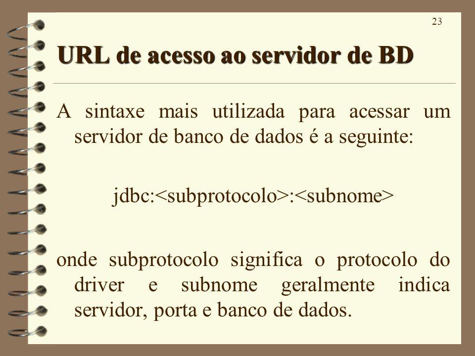 23 URL de acesso ao servidor de BD A sintaxe mais utilizada para acessar um servidor de banco de dados é a seguinte: jdbc: : onde subprotocolo significa o protocolo do driver e subnome geralmente indica servidor, porta e banco de dados.