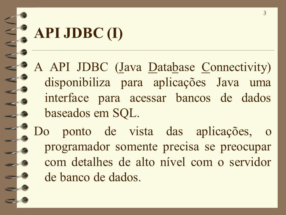 3 API JDBC (I) A API JDBC (Java Database Connectivity) disponibiliza para aplicações Java uma interface para acessar bancos de dados baseados em SQL.