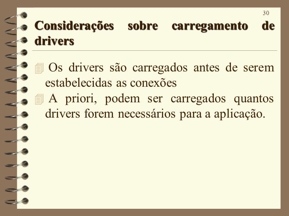 30 Considerações sobre carregamento de drivers 4 Os drivers são carregados antes de serem estabelecidas as conexões 4 A priori, podem ser carregados quantos drivers forem necessários para a aplicação.