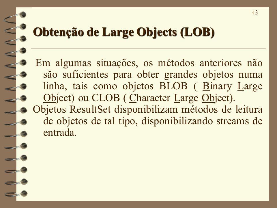 43 Obtenção de Large Objects (LOB) Em algumas situações, os métodos anteriores não são suficientes para obter grandes objetos numa linha, tais como objetos BLOB ( Binary Large Object) ou CLOB ( Character Large Object).
