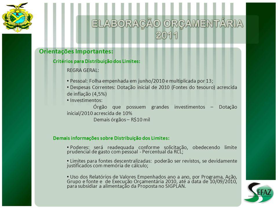 Orientações Importantes: Critérios para Distribuição dos Limites: REGRA GERAL: Pessoal: Folha empenhada em junho/2010 e multiplicada por 13; Despesas Correntes: Dotação inicial de 2010 (Fontes do tesouro) acrescida de inflação (4,5%) Investimentos: Órgão que possuem grandes investimentos – Dotação inicial/2010 acrescida de 10% Demais órgãos – R$10 mil Demais informações sobre Distribuição dos Limites: Poderes: será readequada conforme solicitação, obedecendo limite prudencial de gasto com pessoal - Percentual da RCL; Limites para fontes descentralizadas: poderão ser revistos, se devidamente justificados com memória de cálculo; Uso dos Relatórios de Valores Empenhados ano a ano, por Programa, Ação, Grupo e fonte e de Execução Orçamentária 2010, até a data de 10/09/2010, para subsidiar a alimentação da Proposta no SIGPLAN.