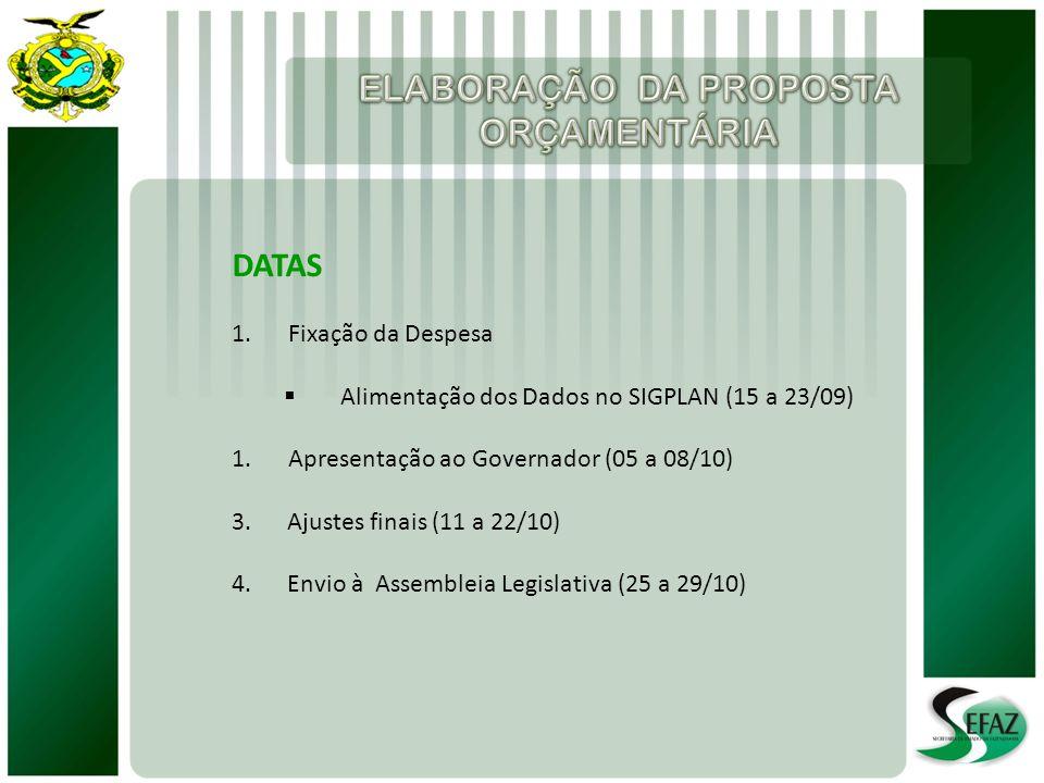 DATAS 1.Fixação da Despesa Alimentação dos Dados no SIGPLAN (15 a 23/09) 1.Apresentação ao Governador (05 a 08/10) 3. Ajustes finais (11 a 22/10) 4. E
