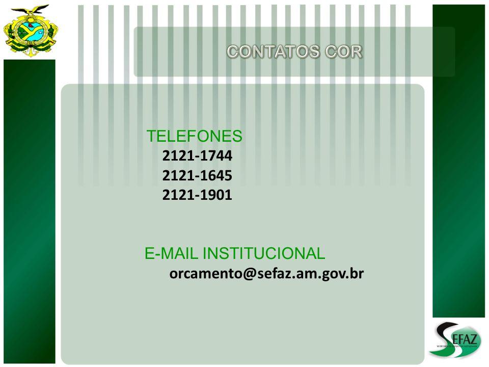 TELEFONES 2121-1744 2121-1645 2121-1901 E-MAIL INSTITUCIONAL orcamento@sefaz.am.gov.br
