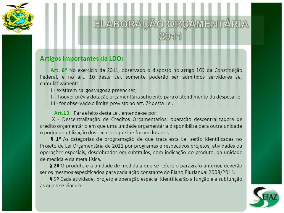 Artigos Importantes da LDO: Art. 8º No exercício de 2011, observado o disposto no artigo 169 da Constituição Federal, e no art. 10 desta Lei, somente