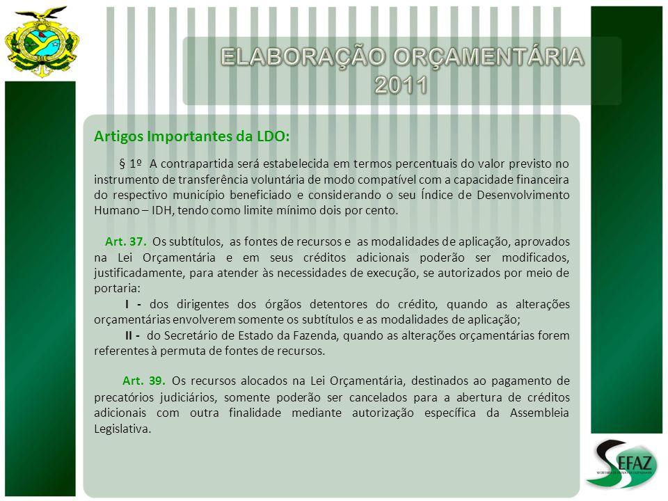 Artigos Importantes da LDO: § 1º A contrapartida será estabelecida em termos percentuais do valor previsto no instrumento de transferência voluntária