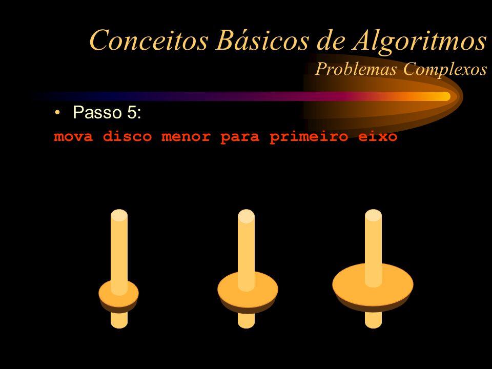 Passo 5: mova disco menor para primeiro eixo Conceitos Básicos de Algoritmos Problemas Complexos