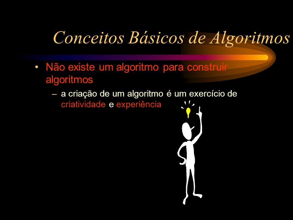Conceitos Básicos de Algoritmos Não existe um algoritmo para construir algoritmos –a criação de um algoritmo é um exercício de criatividade e experiên