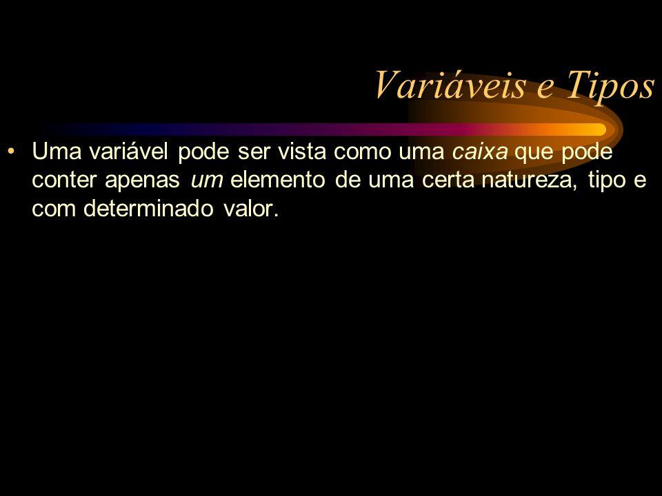Variáveis e Tipos Uma variável pode ser vista como uma caixa que pode conter apenas um elemento de uma certa natureza, tipo e com determinado valor.