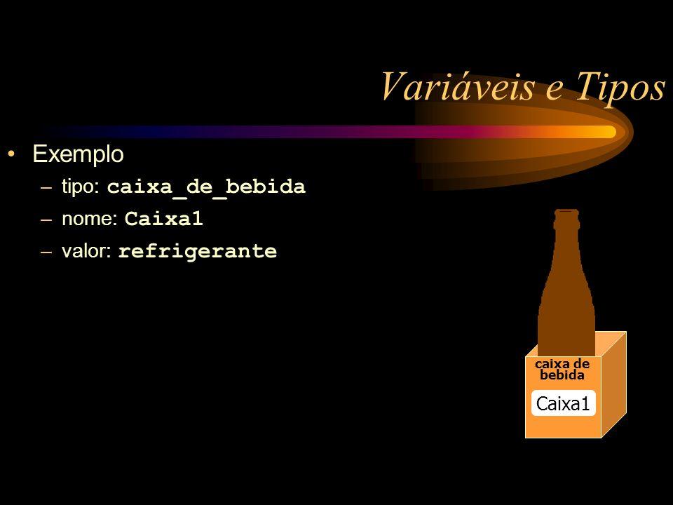 Variáveis e Tipos Exemplo –tipo: caixa_de_bebida –nome: Caixa1 –valor: refrigerante Caixa1 bebidabebida caixa de bebida Caixa1