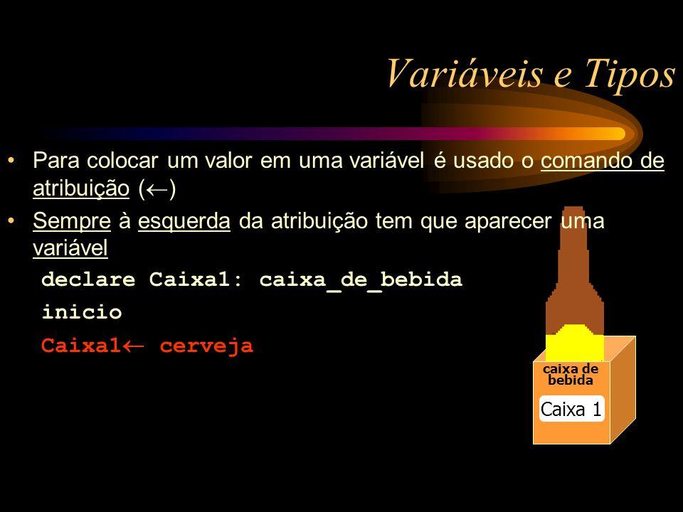 Variáveis e Tipos caixa de bebida caixa de bebida Caixa 1 Para colocar um valor em uma variável é usado o comando de atribuição ( ) Sempre à esquerda da atribuição tem que aparecer uma variável declare Caixa1: caixa_de_bebida inicio Caixa1 cerveja
