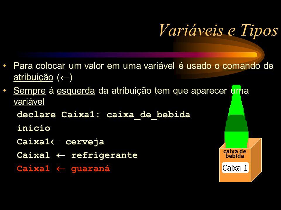 Variáveis e Tipos caixa de bebida caixa de bebida Caixa 1 Para colocar um valor em uma variável é usado o comando de atribuição ( ) Sempre à esquerda da atribuição tem que aparecer uma variável declare Caixa1: caixa_de_bebida inicio Caixa1 cerveja Caixa1 refrigerante Caixa1 guaraná