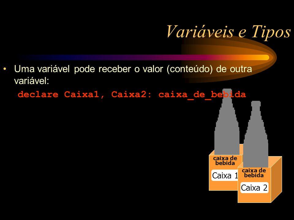 Variáveis e Tipos caixa de bebida Caixa 1 caixa de bebida Caixa 2 Uma variável pode receber o valor (conteúdo) de outra variável: declare Caixa1, Caixa2: caixa_de_bebida