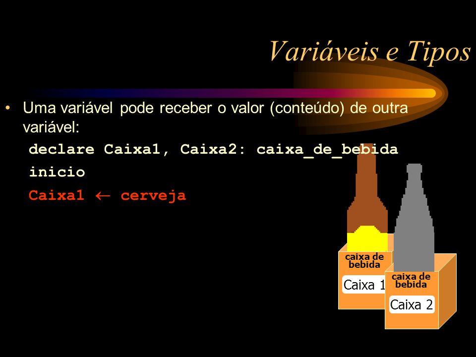 Variáveis e Tipos caixa de bebida caixa de bebida Caixa 1 caixa de bebida Caixa 2 Uma variável pode receber o valor (conteúdo) de outra variável: declare Caixa1, Caixa2: caixa_de_bebida inicio Caixa1 cerveja