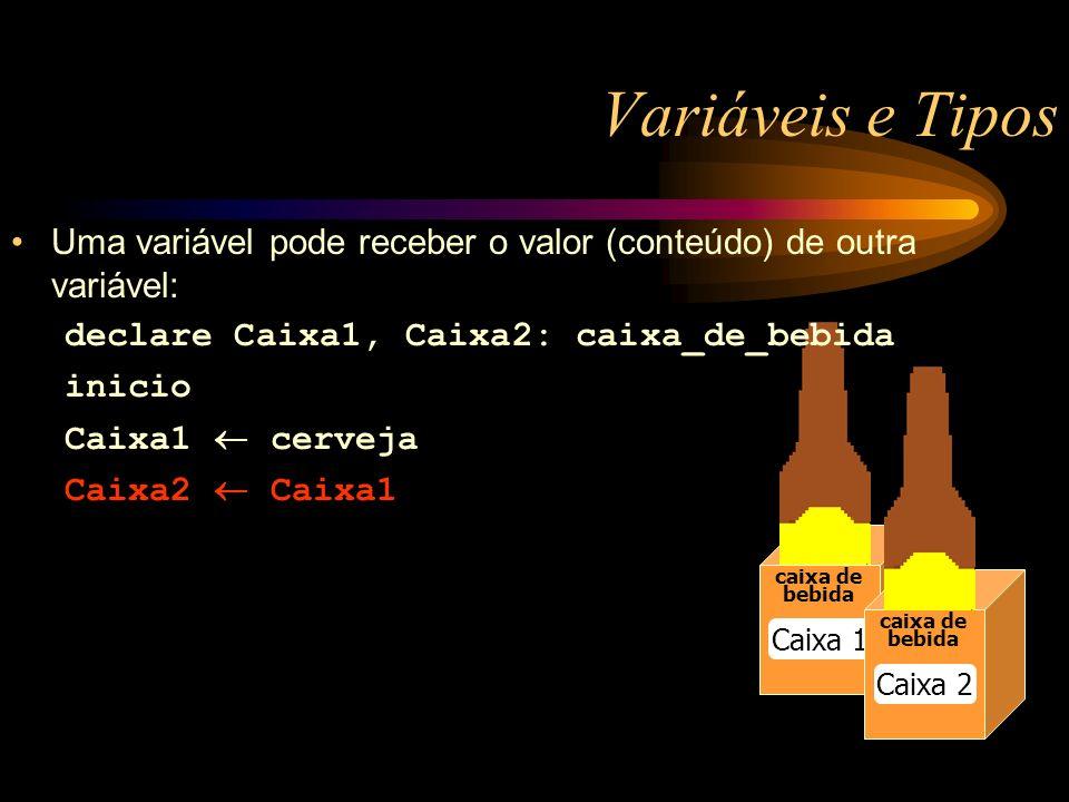 Variáveis e Tipos caixa de bebida Caixa 1 caixa de bebida Caixa 2 Uma variável pode receber o valor (conteúdo) de outra variável: declare Caixa1, Caixa2: caixa_de_bebida inicio Caixa1 cerveja Caixa2 Caixa1