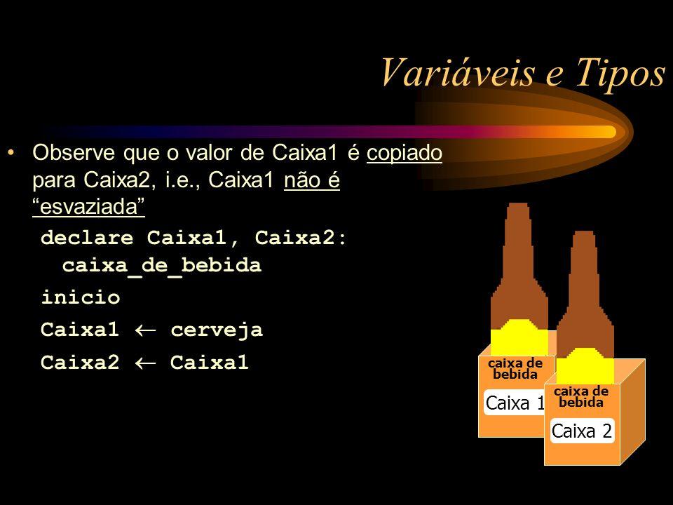 Variáveis e Tipos caixa de bebida Caixa 1 caixa de bebida Caixa 2 Observe que o valor de Caixa1 é copiado para Caixa2, i.e., Caixa1 não é esvaziada declare Caixa1, Caixa2: caixa_de_bebida inicio Caixa1 cerveja Caixa2 Caixa1
