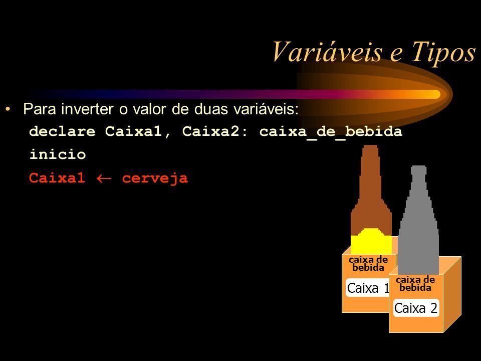 Variáveis e Tipos caixa de bebida Caixa 1 caixa de bebida Caixa 2 Para inverter o valor de duas variáveis: declare Caixa1, Caixa2: caixa_de_bebida inicio Caixa1 cerveja