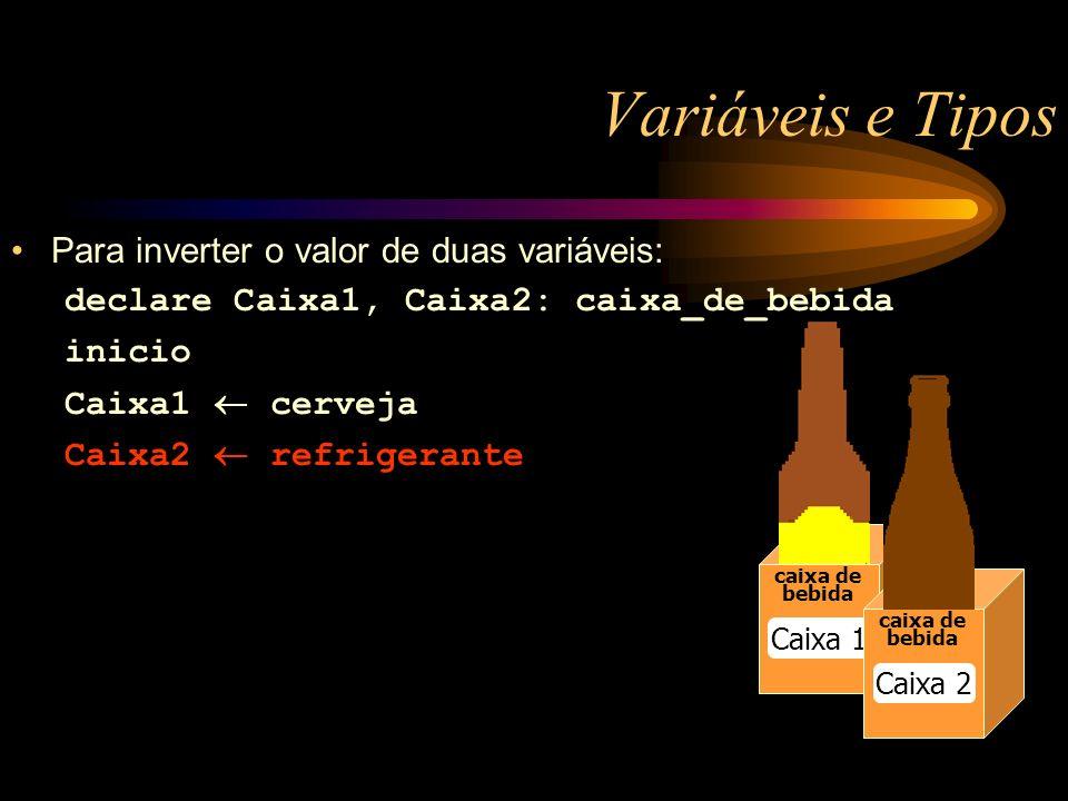 Variáveis e Tipos caixa de bebida Caixa 1 caixa de bebida Caixa 2 Para inverter o valor de duas variáveis: declare Caixa1, Caixa2: caixa_de_bebida inicio Caixa1 cerveja Caixa2 refrigerante