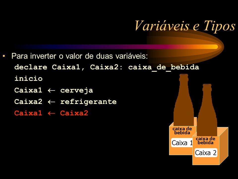 Variáveis e Tipos caixa de bebida Caixa 1 caixa de bebida Caixa 2 Para inverter o valor de duas variáveis: declare Caixa1, Caixa2: caixa_de_bebida inicio Caixa1 cerveja Caixa2 refrigerante Caixa1 Caixa2