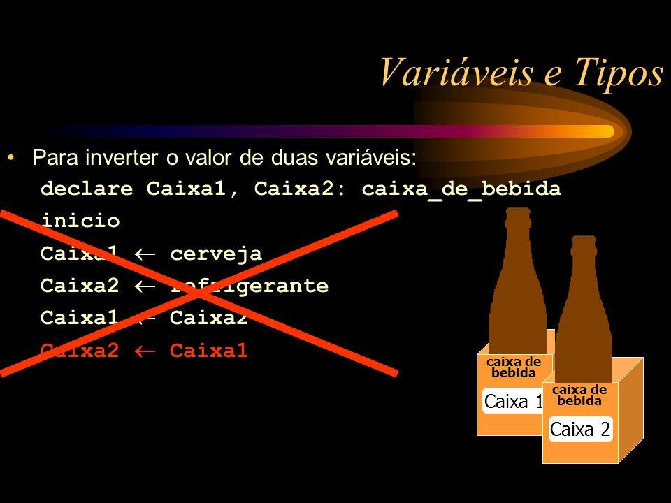 Variáveis e Tipos caixa de bebida Caixa 1 caixa de bebida Caixa 2 Para inverter o valor de duas variáveis: declare Caixa1, Caixa2: caixa_de_bebida inicio Caixa1 cerveja Caixa2 refrigerante Caixa1 Caixa2 Caixa2 Caixa1