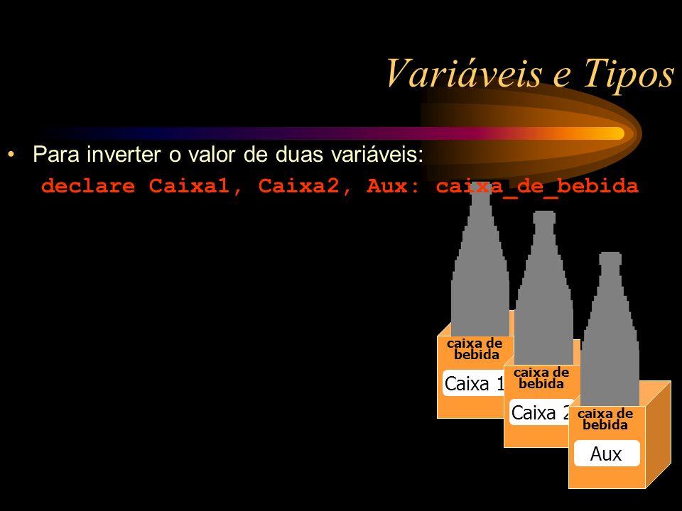 Variáveis e Tipos caixa de bebida Caixa 1 caixa de bebida Caixa 2 caixa de bebida Aux Para inverter o valor de duas variáveis: declare Caixa1, Caixa2, Aux: caixa_de_bebida