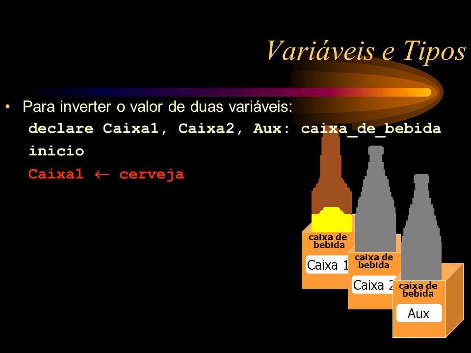Variáveis e Tipos caixa de bebida Caixa 1 caixa de bebida Caixa 2 caixa de bebida Aux Para inverter o valor de duas variáveis: declare Caixa1, Caixa2, Aux: caixa_de_bebida inicio Caixa1 cerveja
