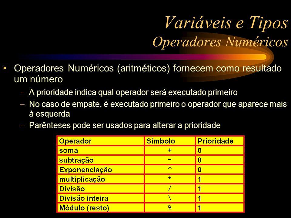Variáveis e Tipos Operadores Numéricos Operadores Numéricos (aritméticos) fornecem como resultado um número –A prioridade indica qual operador será executado primeiro –No caso de empate, é executado primeiro o operador que aparece mais à esquerda –Parênteses pode ser usados para alterar a prioridade