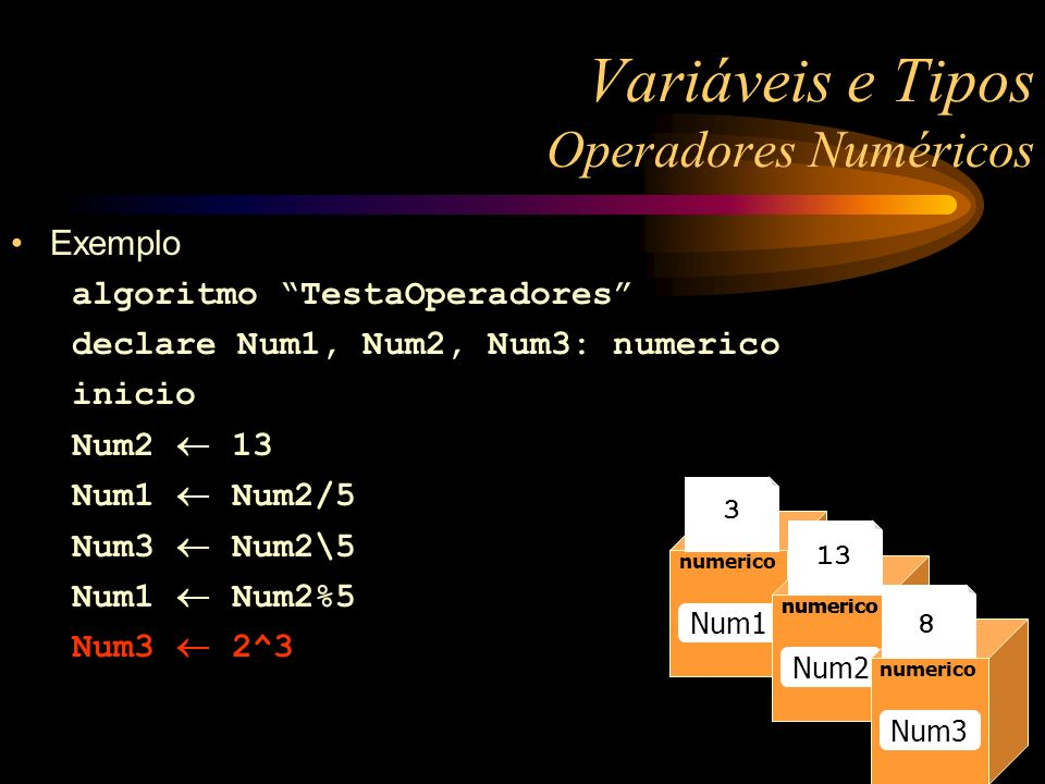 Exemplo algoritmo TestaOperadores declare Num1, Num2, Num3: numerico inicio Num2 13 Num1 Num2/5 Num3 Num2\5 Num1 Num2%5 Num3 2^3 Variáveis e Tipos Ope