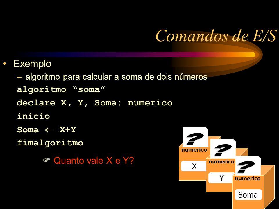 Comandos de E/S Exemplo –algoritmo para calcular a soma de dois números algoritmo soma declare X, Y, Soma: numerico inicio Soma X+Y fimalgoritmo Quanto vale X e Y.